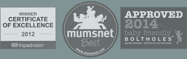 2012 Winner Certificate Of Excellence, Mumsnet Best, 2014 Approved Baby Friendly Boltholes