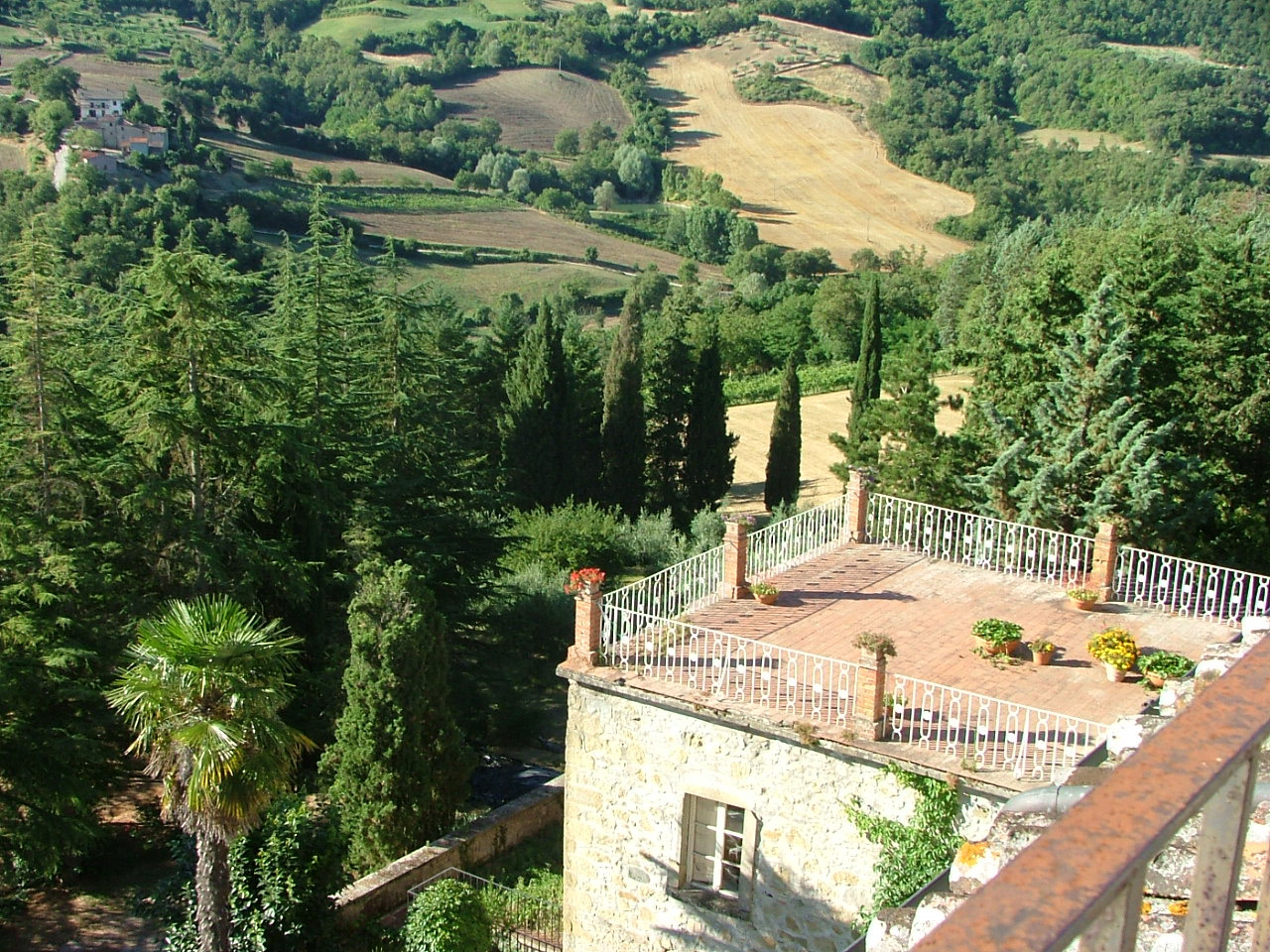 view from the balcony in Tuscany